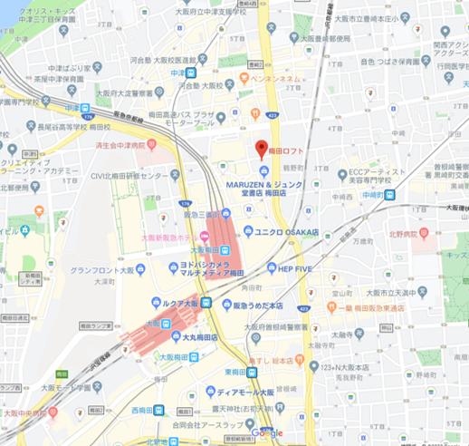 梅田ロフト 周辺地図